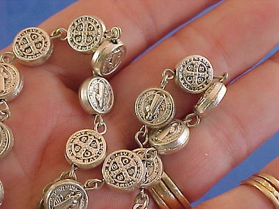 Rare St BENEDICT Rosary NECKLACE Medal Protection Exorcisms Saint Metal Crucifix