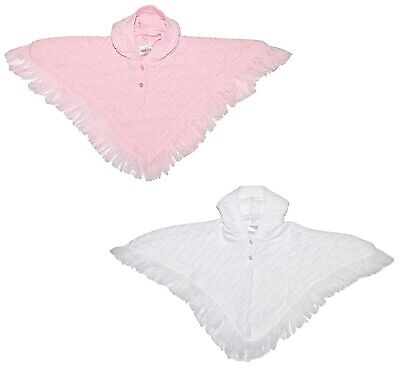 Baby Girl Poncho Cape Cardigan Knitted Christening Shower Birthday NB - 2 Years