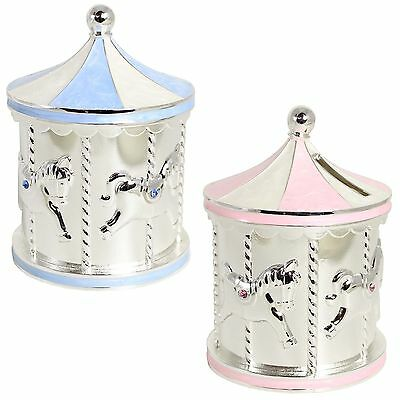 Silver Plated Carousel Money Box with Diamantes - New Baby Girl OR Boy