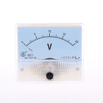 85C1 Class 2.5 Accuracy DC 0-20V White Analog Volt Panel Meter Gauge New