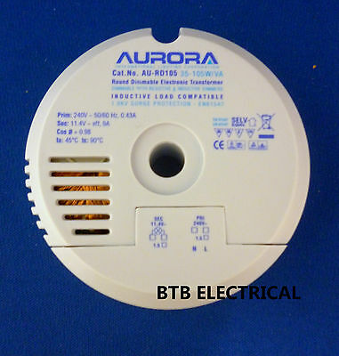Aurora AU-RD105 35-105W/VA Round Dimmable Electronic Transformer