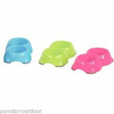 Dog cat smarty bowl double twin feeding water dish 11cm fun colours