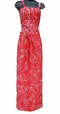cc6a63909c Red White Tie-dye Wrap Around Pants Set Shirred Top Comfortable One-size  Summer