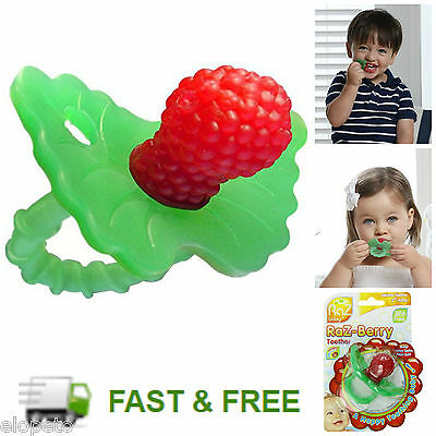 Baby Teething Ring Pacifier Medical Silicone Teether RazBerry Soother Gum Toy