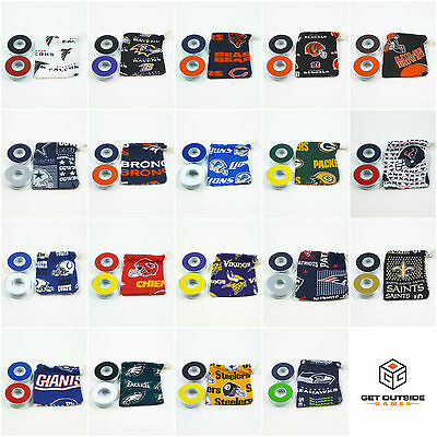 8 VVashers™ w/ NFL Team Fabric Bag | Washer Toss / Washer Game Washers