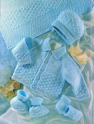(747) Knitting Pattern for Baby Jacket, Hat, Mittens, Bootees, Blanket, 16-22''