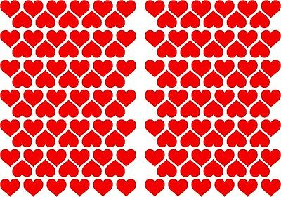 144 x  Heart Shape Vinyl Stickers 20mm, Self Adhesive Peel and Stick  FREE P&P