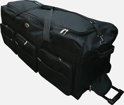 "42"" Black 1200D Polyester Jumbo Rolling Wheeled Duffel Bag / Suitcase-Heavy Duty"