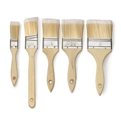 Paint Brush Set | 5pc Variety Pack Straight Indoor Wood Handle Soft Bristles Tip