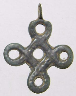 Rare Ancient Celtic Knot Cross ca.900 Carolingian? Bronze Pendant Pilgrims Badge
