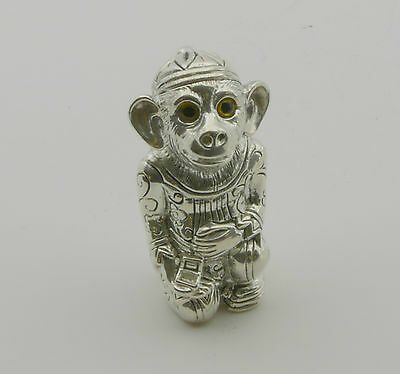 Silver-Plate Embossed Monkey with Glass Eyes Pin Cushion Hallmarked