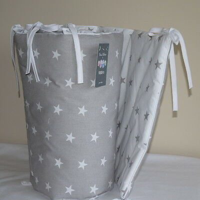 NEW 100% COTTON Cot Bed Bumper Simply Grey &White Stars Girls Boys