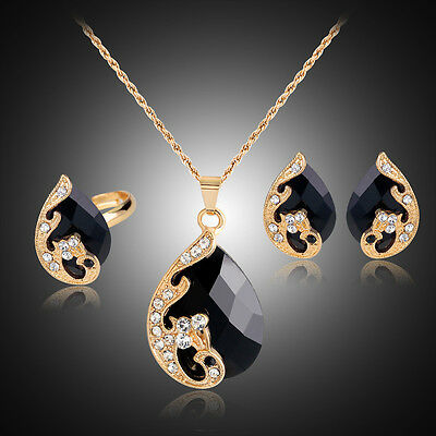 New Women's Peacock Crystal Rhinestone Gem Necklace Earrings Ring Jewelry Sets