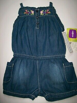 Bnwt Girls Denim Embroidered Summer Shorts Playsuit Ages Range 2 - 5 Years