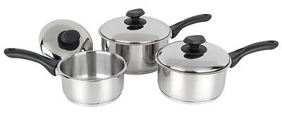 Pendeford Stainless Steel Collection Sauce Pan Set with Lids - 3 Piece Set