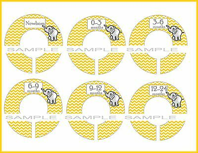 PRE-ASSEMBLED Closet Dividers Yellow Chevron Grey Elephant Baby DIVIDERS {K412}