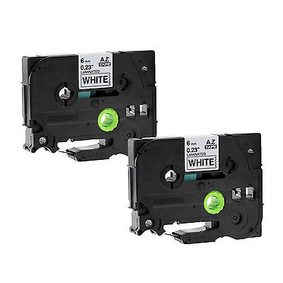 2PK Black on White Label Tape TZ TZe 211 Compatible For Brother P-Touch PT300