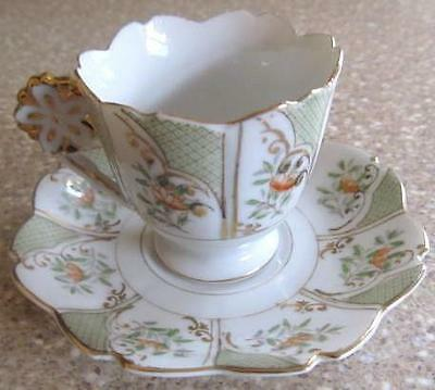 Very Nice Occupied Japan Hand Painted Gold Trimmed Demitasse Cup And Saucer Set