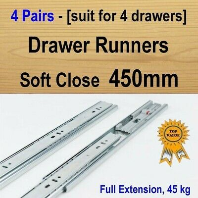 4 pairs soft close ball bearing drawer runners / Slides Kitchen Vanity - 450mm
