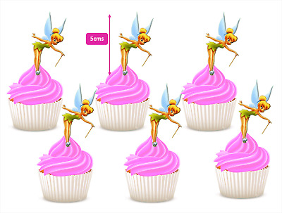 #614. Tinkerbell stand up edible wafer cupcake cake toppers birthday