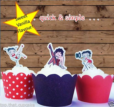 #629. Betty Boop edible wafer Cupcake Toppers birthday hens night  standup