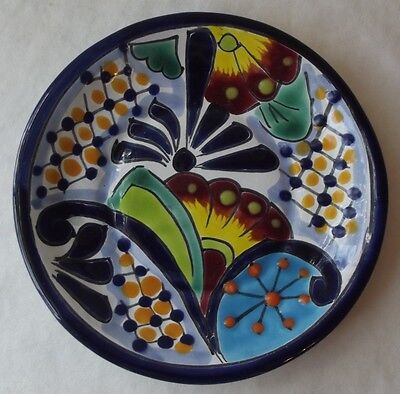 """New Mexican Talavera Hand Painted Pottery Dish 6"""" D"""