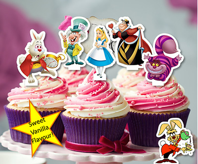 Alice In Wonderland edible wafer Cupcake Cake Toppers Birthday mad hatter