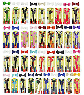 CUTE Baby Toddler Kids Children Boys Girls Stripe Elastic Suspender& Bow Tie Set