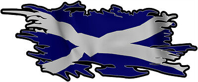 SCOTTLAND SCOTTISH RIPPED FLAG Size apr. 165mm by 70mm GLOSS  DOES NOT FADE