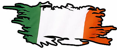 IRISH RIPPED FLAG Size apr. 165mm by 70mm GLOSS LAMINATED DOES NOT FADE