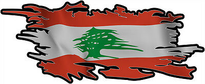 LEBANON RIPPED FLAG Size apr. 300mm by 122mm GLOSS LAMINATED DOES NOT FADE