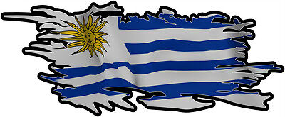 URUGUAY RIPPED FLAG Size apr. 300mm by 122mm GLOSS LAMINATED DOES NOT FADE