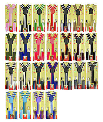 CUTE Baby Toddler Kids Children Boys & Girls Stripe Y-Back Elastic Suspenders 25