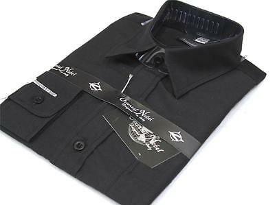 Boys' BLACK SLIM FIT long sleeved dress shirt - for school or formal sz 2 - 17
