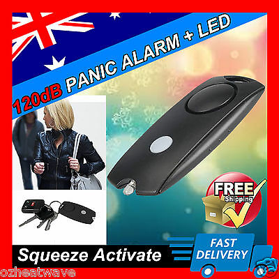 *PERSONAL SECURITY 120dB Panic Alarm,Safety Guard Siren LED torch, BLACK