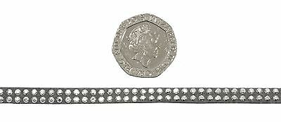 Mini Diamante Studs Silver Grey 5mm Faux Suede Trimming *5 Lengths*