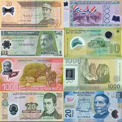 North & South America Polymer SET of 7 First Banknote varieties Issued 2006-2010