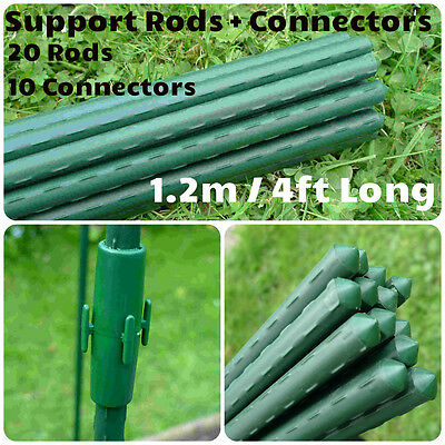20 x 4ft Plastic Coated Steel Bamboo Cane Plant Support +10Connectors GSK2153P20