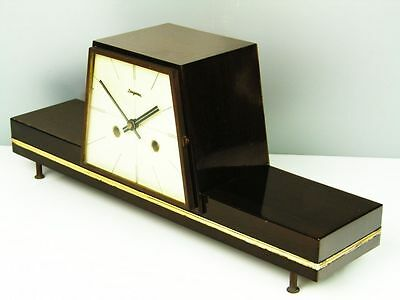 A  Beautiful Later Art Deco   Dugena Hermle Chiming Mantel Clock  From 50´s • EUR 241,95