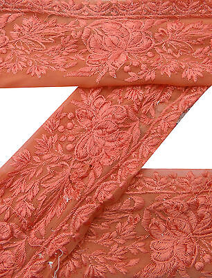 Vintage Indian Sari Border Used Embroidered 1YD Trim Sewing Orange Ribbon Lace