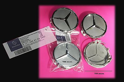 4 x 75mm Silver Mercedes Benz Wheel Caps with Chrome Star Brand New