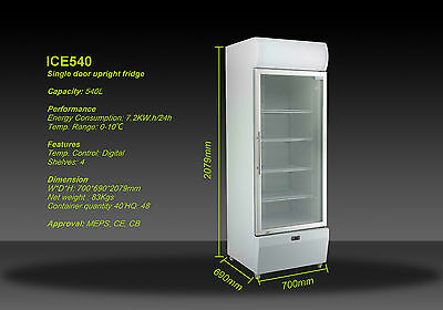 B NEW 540L COMMERCIAL UPRIGHT DISPLAY  DRINK FRIDGE   BEER CHILLER 3.2kW.h/24h