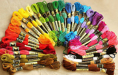 100/200 Mix Colors Cross Stitch Cotton Sewing Skeins Embroidery Thread Floss Kit