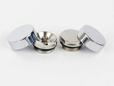 Two Chrome Cover Cap for Towel Rail Radiator blanking plug and air vent / Bleed