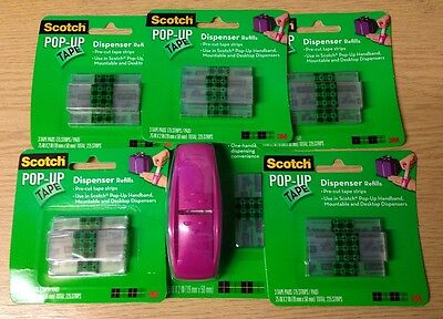 Scotch Pop Up Tape Hand Band Dispenser with 5 Packs of 3 Refill Strips (1,200)
