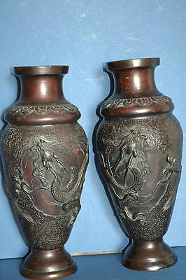 Pair Antique 19th Century Chinese Bronze Baluster Vases, Dragon Decoration,c1870