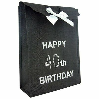 Happy 40th Birthday Glitzy Gift Present Bag in Black & Silver Diamante Stones