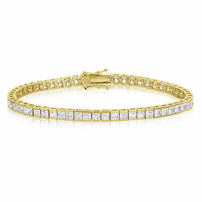 14k Gold Plated 3x3mm CZ Square Princess Cut Tennis Bracelet