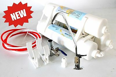 3 stage inline slim low profile undersink domestic water filtration system