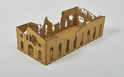 RUINED LARGE FACTORY Detailed - Laser Cut Wargaming Scenery 28mm